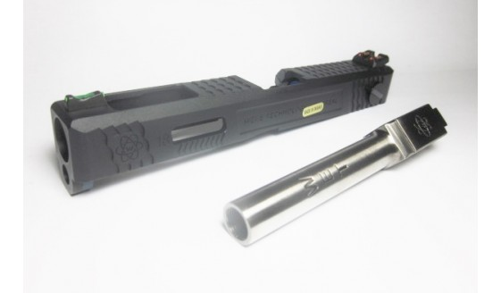 WE Custom G18C Black Slide with Silver Barrel Kit