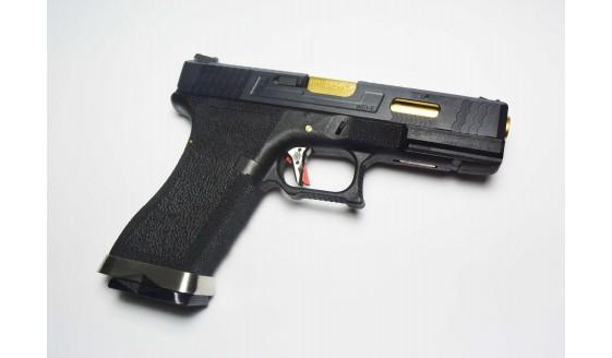 WE G FORCE G17 Custom Pistol Black Slide Gold Barrel