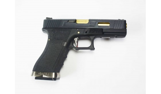 WE G FORCE G18C Custom Pistol Black Slide Gold Barrel